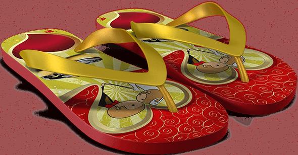 Chinelo vermelho e amarelo personalizado para Casamento
